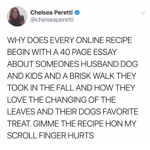 Chelsea, Dogs, and Fall: Chelsea Peretti  @chelseaperetti  WHY DOES EVERY ONLINE RECIPE  BEGIN WITH A 40 PAGE ESSAY  ABOUT SOMEONES HUSBAND DOG  AND KIDS AND A BRISK WALK THEY  TOOK IN THE FALL AND HOW THEY  LOVE THE CHANGING OF THE  LEAVES AND THEIR DOGS FAVORITE  TREAT GIMME THE RECIPE HON MY  SCROLL FINGER HURTS