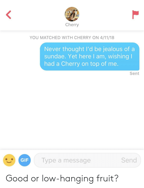 Gif, Jealous, and Good: Cherry  YOU MATCHED WITH CHERRY ON 4/11/18  Never thought I'd be jealous of a  sundae. Yet here I am, wishing l  had a Cherry on top of me.  Sent  GIF  Type a message  Send Good or low-hanging fruit?