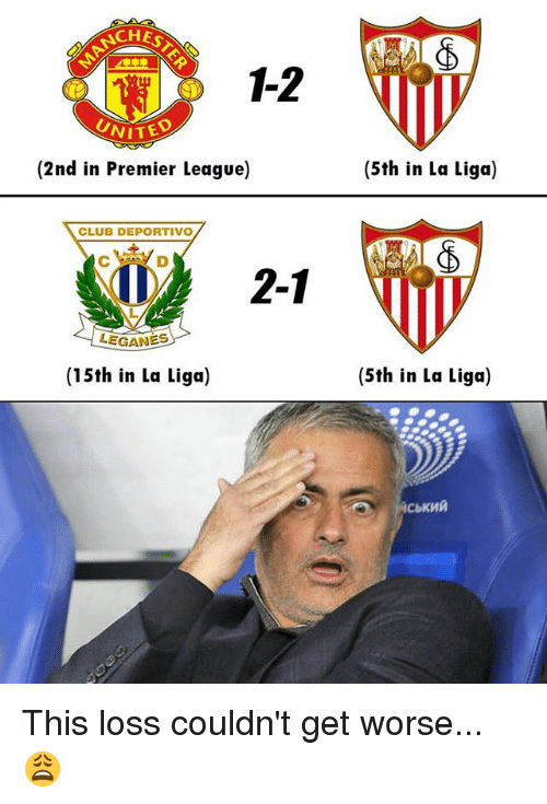 Club, Memes, and Premier League: CHES  1-2  UNITE  (2nd in Premier League)  (5th in La Liga)  CLUB DEPORTIVO  2-1  (15th in La Liga)  (5th in La Liga) This loss couldn't get worse... 😩