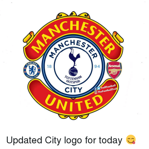 Arsenal, Memes, and Today: CHES  CHEs*  HELS  18  NH94  HOTSPUR  Arsenal  OTBALL  CITY  TrollFootball  O TheFootballTrol Updated City logo for today 😋