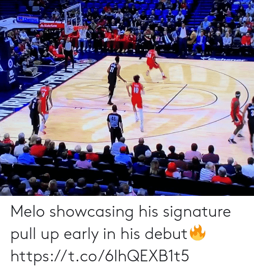 signature: Chevron  StateFarm  10  48 Melo showcasing his signature pull up early in his debut🔥 https://t.co/6lhQEXB1t5