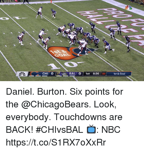 Memes, Goal, and Back: CHI 0  BAL 0 1st 8:26  :00  1st & Goal Daniel.  Burton.  Six points for the @ChicagoBears.   Look, everybody. Touchdowns are BACK! #CHIvsBAL  📺: NBC https://t.co/S1RX7oXxRr
