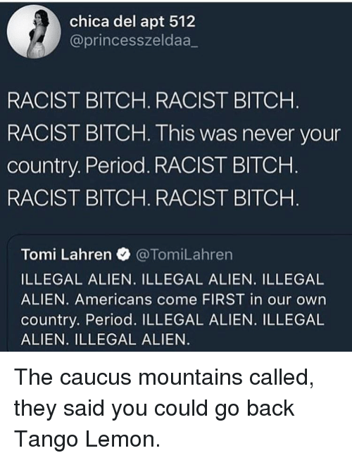 Bitch, Period, and Alien: chica del apt 512  @princesszeldaa_  RACIST BITCH. RACIST BITCH  RACIST BITCH. This was never your  country. Period. RACIST BITCHH  RACIST BITCH. RACIST BITCH  Tomi Lahren @TomiLahren  ILLEGAL ALIEN. ILLEGAL ALIEN. ILLEGAL  ALIEN. Americans come FIRST in our own  country. Period. ILLEGAL ALIEN. ILLEGAL  ALIEN. ILLEGAL ALIEN The caucus mountains called, they said you could go back Tango Lemon.