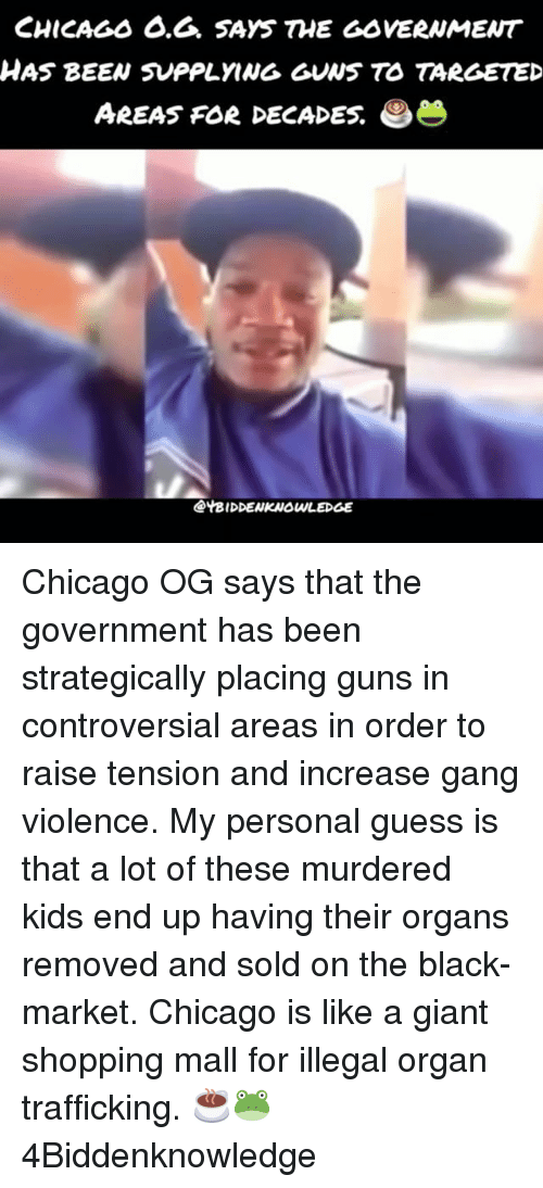 Organizer: CHICAGs 6.6. SAYS THE GOVERNMENT  HAS BEEN SUPPLYING GUNS TO TARGETED  AREAS FOR DECADES.  @YBIDDENKNOWLEDGE Chicago OG says that the government has been strategically placing guns in controversial areas in order to raise tension and increase gang violence. My personal guess is that a lot of these murdered kids end up having their organs removed and sold on the black-market. Chicago is like a giant shopping mall for illegal organ trafficking. ☕🐸 4Biddenknowledge