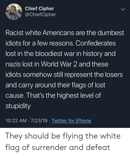 dumbest: Chief Cipher  @ChiefCipher  Racist white Americans are the dumbest  idiots for a few reasons. Confederates  lost in the bloodiest war in history and  nazis lost in World War 2 and these  idiots somehow still represent the losers  and carry around their flags of lost  cause. That's the highest level of  stupidity  10:22 AM 7/23/19 Twitter for iPhone They should be flying the white flag of surrender and defeat