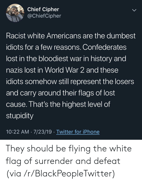 dumbest: Chief Cipher  @ChiefCipher  Racist white Americans are the dumbest  idiots for a few reasons. Confederates  lost in the bloodiest war in history and  nazis lost in World War 2 and these  idiots somehow still represent the losers  and carry around their flags of lost  cause. That's the highest level of  stupidity  10:22 AM 7/23/19 Twitter for iPhone They should be flying the white flag of surrender and defeat (via /r/BlackPeopleTwitter)