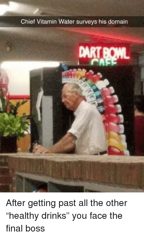 """domain: Chief Vitamin Water surveys his domain After getting past all the other """"healthy drinks"""" you face the final boss"""