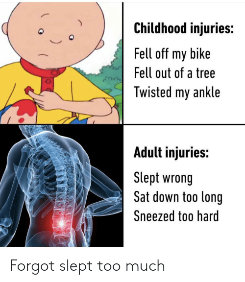 twisted: Childhood injuries:  Fell off my bike  Fell out of a tree  Twisted my ankle  Adult injuries:  Slept wrong  Sat down too long  Sneezed too hard Forgot slept too much