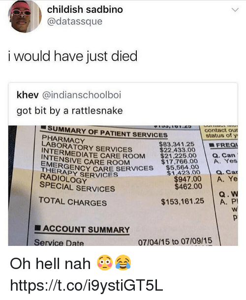Memes, Date, and Patient: childish sadbino  @datassque  i would have just died  khev @indianschoolboi  got bit by a rattlesnake  , ' o 'zo  SUMMARY OF PATIENT SERVICES  PHARMACY  LABORATORY SERVICES  contact our  status of y  | ■FREQI  $83,341.25  $22,433.00  INTERMEDIATE CARE ROOMM  $21225.00a. Can  INTENSIVE CARE ROOM  EMERGEN  Y CARE SERVICES $5.84.0  $17,766.00 A. Yes  1,423.00 a. Car  THERAPY SERVICES  RADIOLOGY  $947.00 A. Ye  Q. W  $153,161.25 A. P  SPECIAL SERVICES  $462.00  TOTAL CHARGES  ■ ACCOUNT SUMMARY  Service Date  07/04/15 to 07/09/15 Oh hell nah 😳😂 https://t.co/i9ystiGT5L
