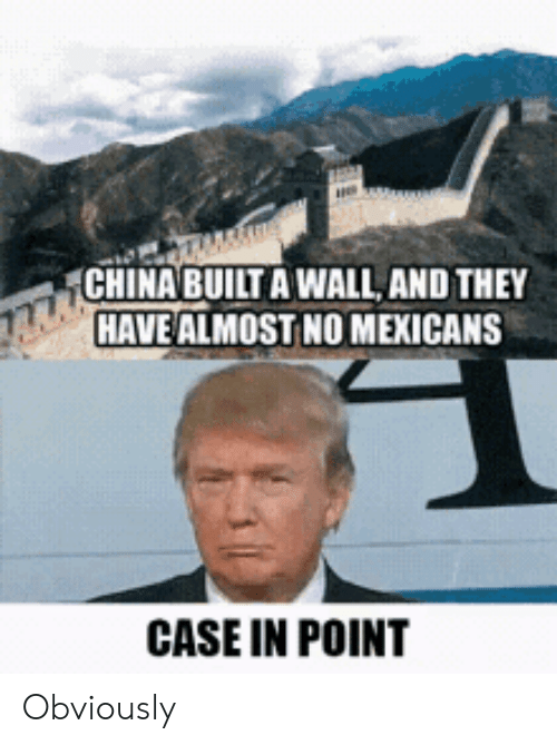 Theye: CHINA BUILT A WALL, AND THEY  HAVE ALMOST NO MEXICANS  CASE IN POINT Obviously