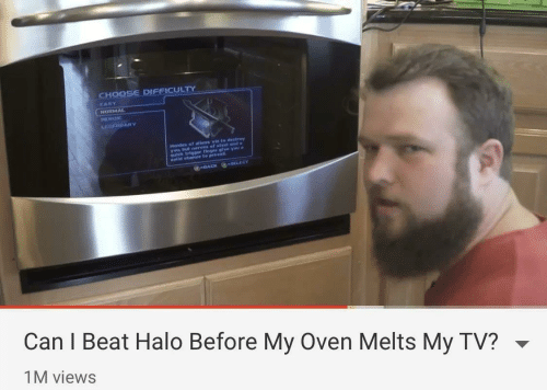 Halo: CHOOSE DIFFICULTY  EASY  NORMAL  HEROIC  GEHDARY  Hordes of allens vie to destrey  yobterves of steet and  us trigger finger glve yau a  elld chance to prevall  -BACK SELECT  Can I Beat Halo Before My Oven Melts My TV?  1M views