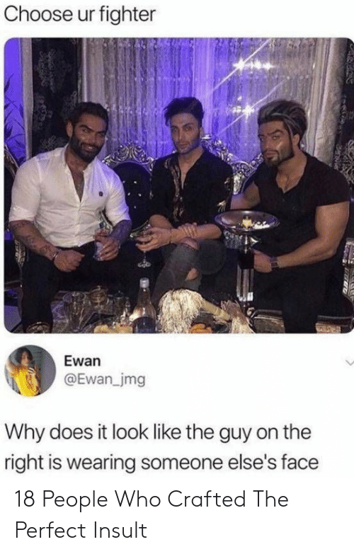 Who, Why, and Face: Choose ur fighter  Ewan  @Ewan_jmg  Why does it look like the guy on the  right is wearing someone else's face 18 People Who Crafted The Perfect Insult