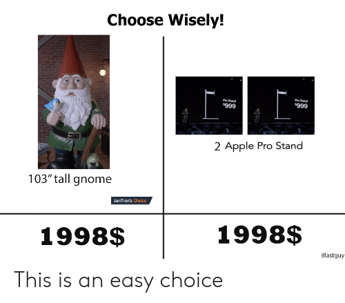 "Apple, Pro, and Gnome: Choose Wisely!  Pro Stand  Pro Stand  $999  $999  2 Apple Pro Stand  103"" tall gnome  JonTron's Choice  1998$  1998$  Blastguy This is an easy choice"