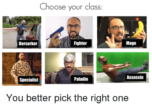 berserker: Choose your class  Berserker  Fighter  Mage  Specialist  Paladin  Assassin <p>You better pick the right one</p>