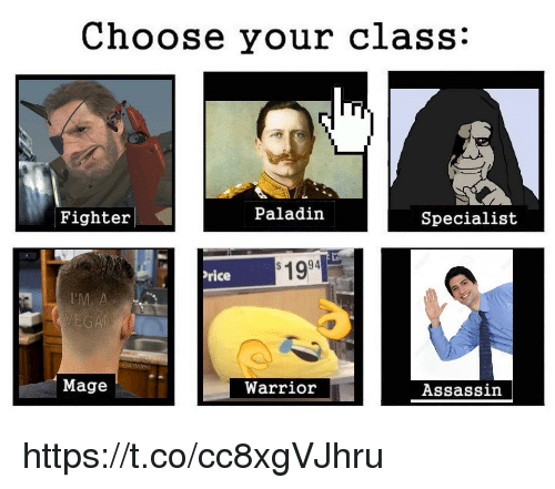 Paladin, Warrior, and Rice: Choose your class:  Fighter  Paladin  Specialist  1994  rice  Mage  Warrior  Assassin https://t.co/cc8xgVJhru