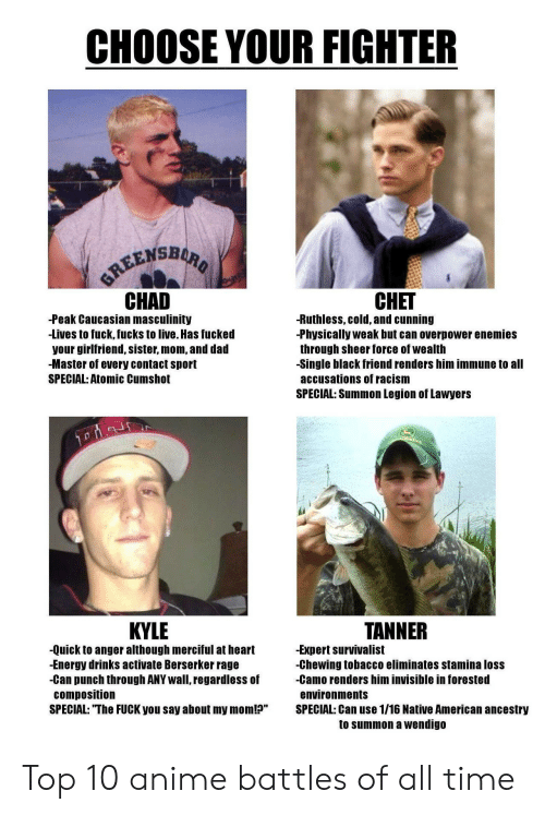 """battles: CHOOSE YOUR FIGHTER  GREENSBURO  CHAD  CНET  -Peak Caucasian masculinity  -Lives to fuck, fucks to live. Has fucked  your girlfriend, sister, mom, and dad  -Master of every contact sport  -Ruthless, cold, and cunning  -Physically weak but can overpower enemies  through sheer force of wealth  -Single black friend renders him immune to all  SPECIAL: Atomic Cumshot  accusations of racism  SPECIAL: Summon Legion of Lawyers  TANNER  KYLE  -Quick to anger although merciful at heart  -Energy drinks activate Berserker rage  -Can punch through ANY wall, regardless of  composition  SPECIAL: """"The FUCK you say about my mom!?""""  -Expert survivalist  -Chewing tobacco eliminates stamina loss  -Camo renders him invisible in forested  environments  SPECIAL: Can use 1/16 Native American ancestry  to summon a wendigo Top 10 anime battles of all time"""