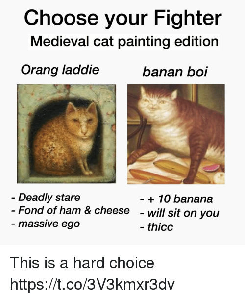 Choose Your Fighter: Choose your Fighter  Medieval cat painting edition  Orang laddie  banan boi  Deadly stare  Fond of ham & cheese  massive ego  + 10 banana  - will sit on you  thicc This is a hard choice https://t.co/3V3kmxr3dv