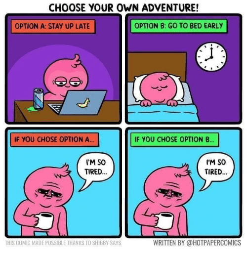 Choose Your Own Adventure, Comic, and Adventure: CHOOSE YOUR OWN ADVENTURE!  OPTION A: STAY UP LATE  OPTION B: GO TO BED EARLY  IF YOU CHOSE OPTION A...  IF YOU CHOSE OPTION B.  M SO  TIRED.  I'M So  TIRED.  THIS COMIC MADE POSSIBLE THANKS TO SHIBBY SAYS  WRITTEN BY @HOTPAPERCOMICS