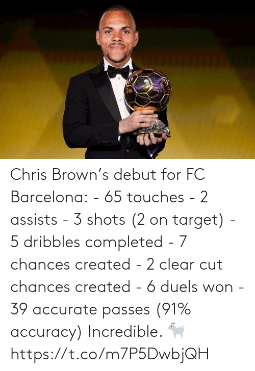 clear: Chris Brown's debut for FC Barcelona:  - 65 touches - 2 assists - 3 shots (2 on target) - 5 dribbles completed  - 7 chances created  - 2 clear cut chances created  - 6 duels won  - 39 accurate passes (91% accuracy)  Incredible. 🐐 https://t.co/m7P5DwbjQH