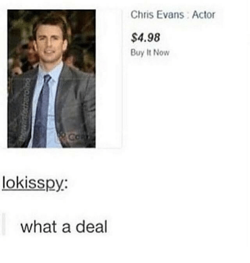 Chris Evans, Now, and What: Chris Evans Actor  $4.98  Buy It Now  lokisspy:  what a deal