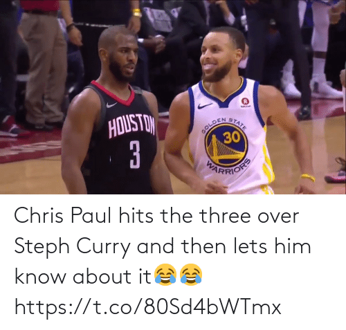 over: Chris Paul hits the three over Steph Curry and then lets him know about it😂😂 https://t.co/80Sd4bWTmx