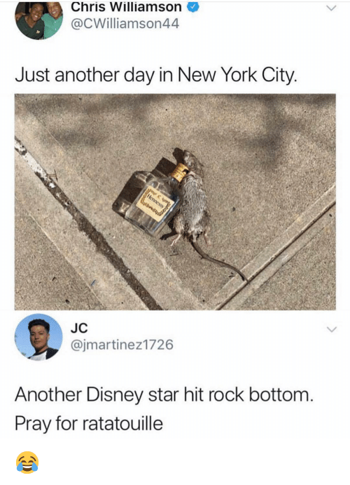 Disney, Memes, and New York: Chris Williamson  @CWilliamson44  Just another day in New York City  JC  @jmartinez1726  Another Disney star hit rock bottom  Pray for ratatouille 😂