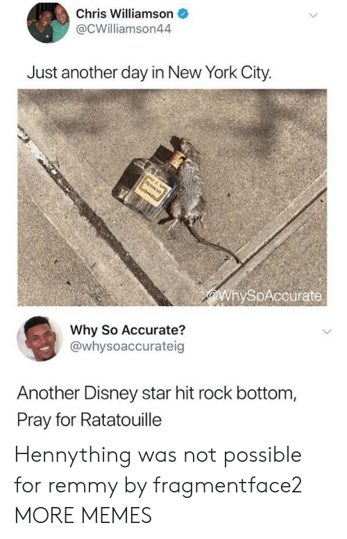 Dank, Disney, and Memes: Chris Williamson  @CWilliamson44  Just another day in New York City.  WhySoAccurate  Why So Accurate?  @whysoaccurateig  Another Disney star hit rock bottom,  Pray for Ratatouille Hennything was not possible for remmy by fragmentface2 MORE MEMES