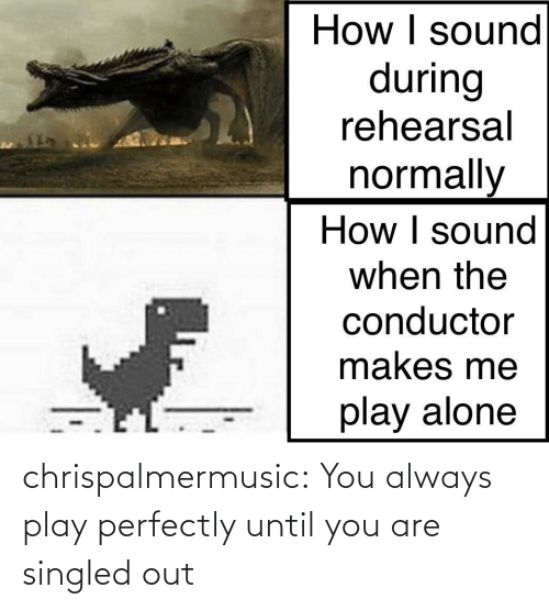 Perfectly: chrispalmermusic:  You always play perfectly until you are singled out