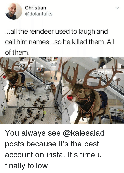 Memes, Best, and Time: Christian  @dolantalks  all the reindeer used to laugh and  call him names...so he killed them. All  of them. You always see @kalesalad posts because it's the best account on insta. It's time u finally follow.