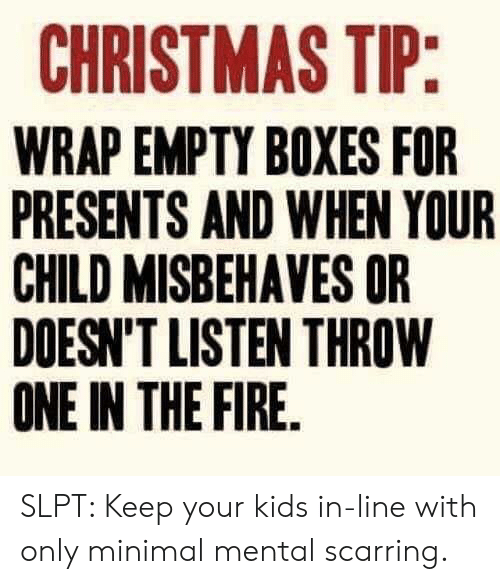 Christmas, Fire, and Kids: CHRISTMAS TIP:  WRAP EMPTY BOXES FOR  PRESENTS AND WHEN YOUR  CHILD MISBEHAVES OR  DOESN'T LISTEN THROW  ONE IN THE FIRE. SLPT: Keep your kids in-line with only minimal mental scarring.