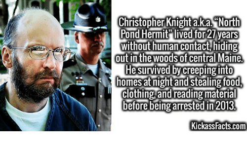 "Facts, Food, and Maine: Christopher Knight a.ka. North  Pond Hermit"" lived for27 years  without human contact,hiding  out in the woods of central Maine  Hesurvived by creeping into  homes at night and stealing food,  clothing,and reading material  before being arrestedin 2013.  Kickass Facts.com"