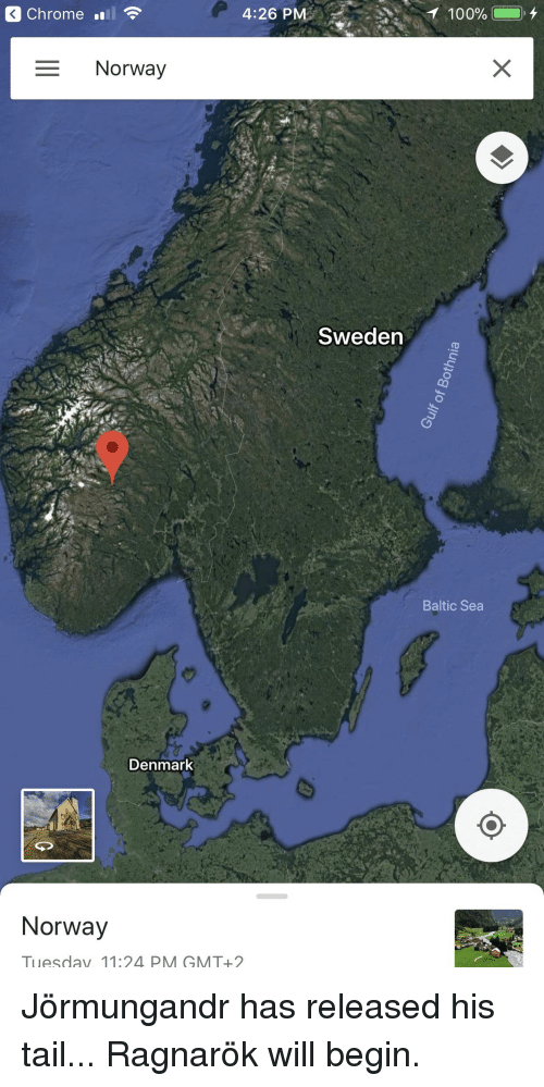 Chrome, Funny, and Denmark: Chrome ll  4:26 PM  Norway  Sweden  Baltic Sea  Denmark  Norway  Tuesdav 11:24 PM GMT+2