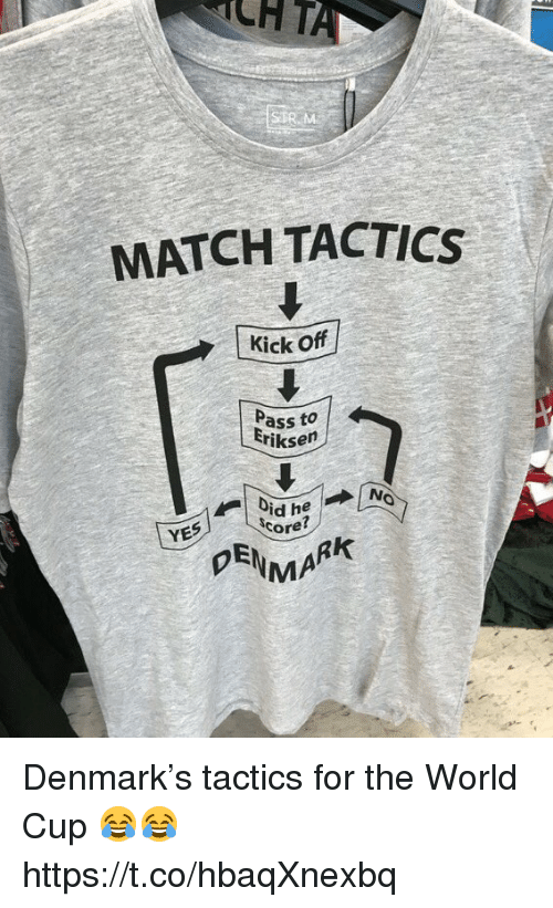 Soccer, World Cup, and Denmark: CHT  MATCH TACTICS  Kick Off  Pass to  iksen  YES  Ore?  MA Denmark's tactics for the World Cup 😂😂 https://t.co/hbaqXnexbq