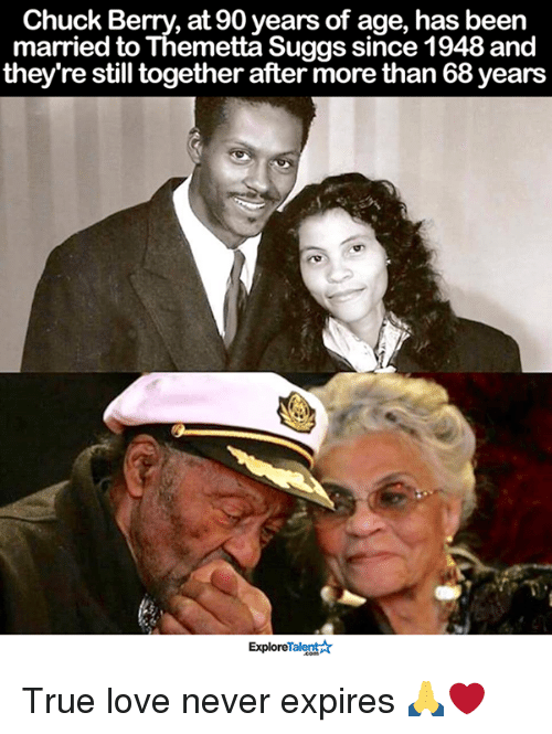 Memes, 🤖, and Chuck: Chuck Berry, at 90 years of age, has been  married to Themetta Suggs since 1948 and  they're still together after more than 68years  ExploreTalent True love never expires 🙏❤