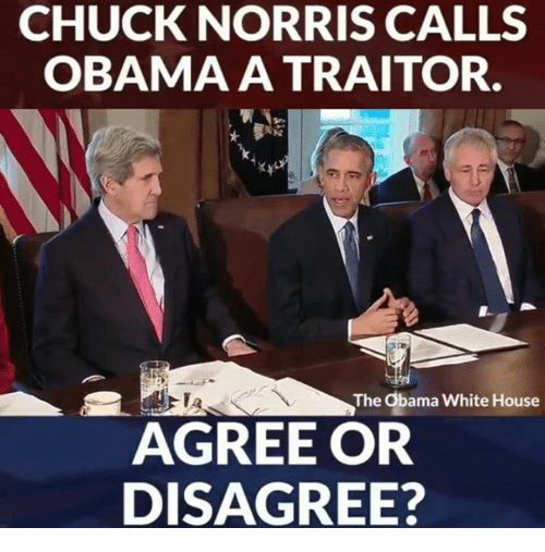 Chuck Norris, Memes, and Obama: CHUCK NORRIS CALLS  OBAMA A TRAITOR.  The Obama White House  AGREE OR  DISAGREE?