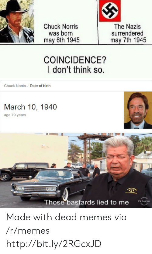 Chuck Norris, Memes, and Date: Chuck Norris  was born  may 6th 1945  The Nazis  surrendered  may 7th 1945  COINCIDENCE?  I don't think so.  Chuck Norris / Date of birth  March 10, 1940  age 79 years  Those bastards lied to me  PS Express Made with dead memes via /r/memes http://bit.ly/2RGcxJD