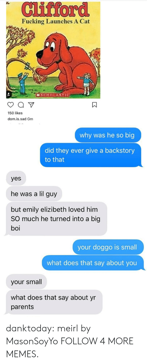 Dank, Fucking, and Memes: Cifford  Fucking Launches A Cat  SCHOASTIG  150 likes  dom.is.sad Gm  why was he so big  did they ever give a backstory  to that  yes  he was a lil guy  but emily elizibeth loved him  SO much he turned into a big  boi  your doggo is small  what does that say about you  your small  what does that say about yr  parents danktoday:  meirl by MasonSoyYo FOLLOW 4 MORE MEMES.