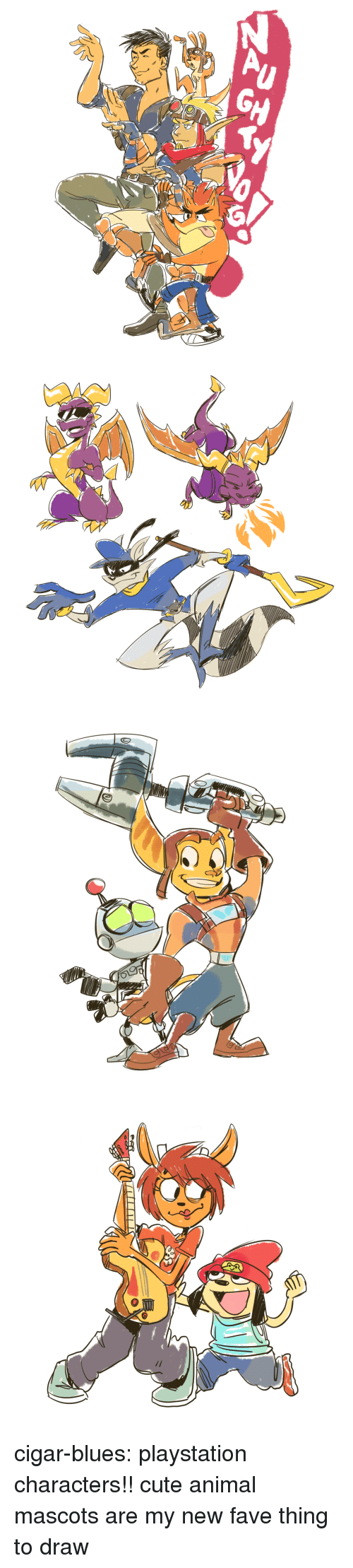 cigar: cigar-blues:  playstation characters!! cute animal mascots are my new fave thing to draw