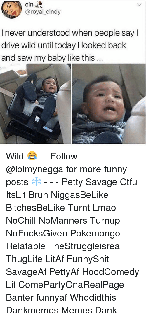 Bruh, Ctfu, and Dank: cin  @royal cindy  I never understood when people sayl  drive wild until today l looked back  and saw my baby like this  gHit Wild 😂 ‍ ‍ ⁶𓅓 ➫➫ Follow @lolmynegga for more funny posts ❄️ - - - Petty Savage Ctfu ItsLit Bruh NiggasBeLike BitchesBeLike Turnt Lmao NoChill NoManners Turnup NoFucksGiven Pokemongo Relatable TheStruggleisreal ThugLife LitAf FunnyShit SavageAf PettyAf HoodComedy Lit ComePartyOnaRealPage Banter funnyaf Whodidthis Dankmemes Memes Dank