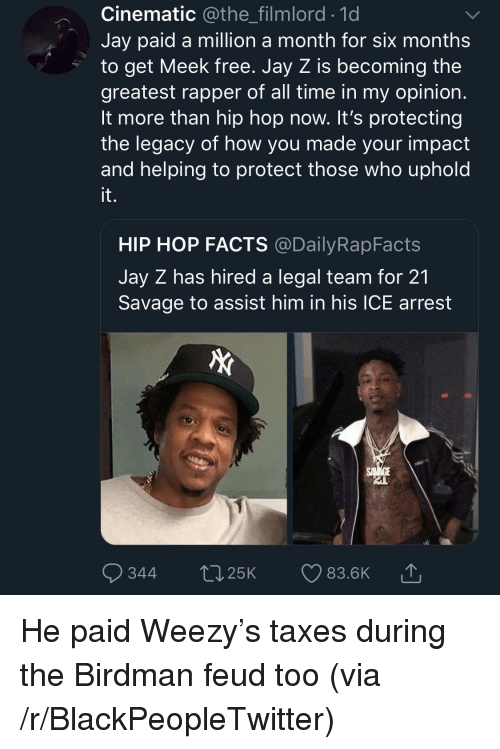 meek: Cinematic @the_filmlord.1d  Jay paid a million a month for six months  to get Meek free. Jay Z is becoming the  greatest rapper of all time in my opinion  It more than hip hop now. It's protecting  the legacy of how you made your impact  and helping to protect those who uphold  it.  HIP HOP FACTS @DailyRapFacts  Jay Z has hired a legal team for 21  Savage to assist him in his ICE arrest  344 t25K 83.6K He paid Weezy's taxes during the Birdman feud too (via /r/BlackPeopleTwitter)