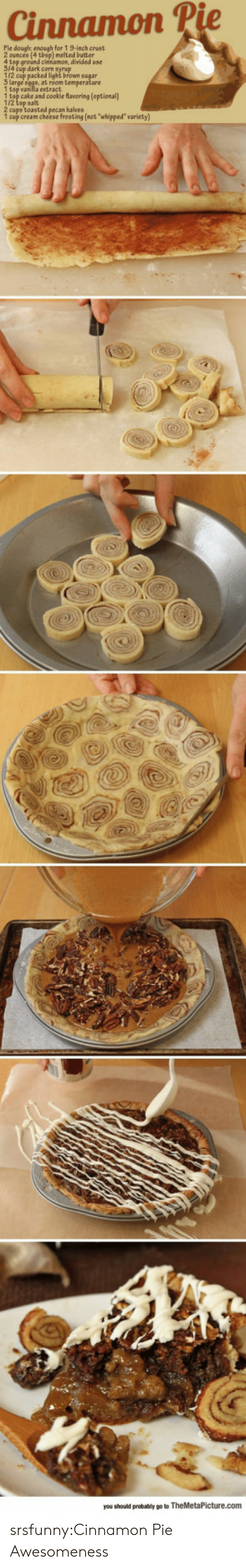 """frosting: Cinnamon P  Pie dough: enough for 1 9-inch crust  ) melted butter  4 top ground cinsamon, divided use  314 cup dark corn syrup  112 cup packed light brown sugar  1 tsp vanilla extract  1 tsp cake and cookie flavoring (optional)  1/2 tsp salt  2 cups toasted pecan halves  1 cup cream cheese frosting (not whipped"""" variety)  you should probably go to TheMetaPicture.com srsfunny:Cinnamon Pie Awesomeness"""