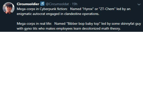 """Dank, Life, and Tits: Circumsoldier @Circumsoldat 19h  Mega-corps in Cyberpunk fiction: Named """"Hyrox"""" or """"ZT-Chem"""" led by an  enigmatic autocrat engaged in clandestine operations.  skinnyfat guy  Mega-corps in real life: Named """"Bibber bop baby top"""" led by  some  with gyno tits who makes employees learn decolonized math theory."""