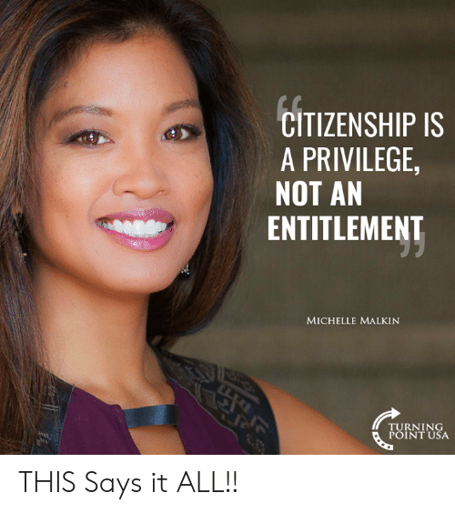 Memes, 🤖, and Usa: CITIZENSHIP IS  A PRIVILEGE  NOT AN  ENTITLEMENT  MICHELLE MALKIN  TURNING  POINT USA THIS Says it ALL!!