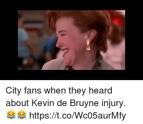 Memes, 🤖, and City: City fans when they heard about Kevin de Bruyne injury. 😂😂 https://t.co/Wc05aurMfy