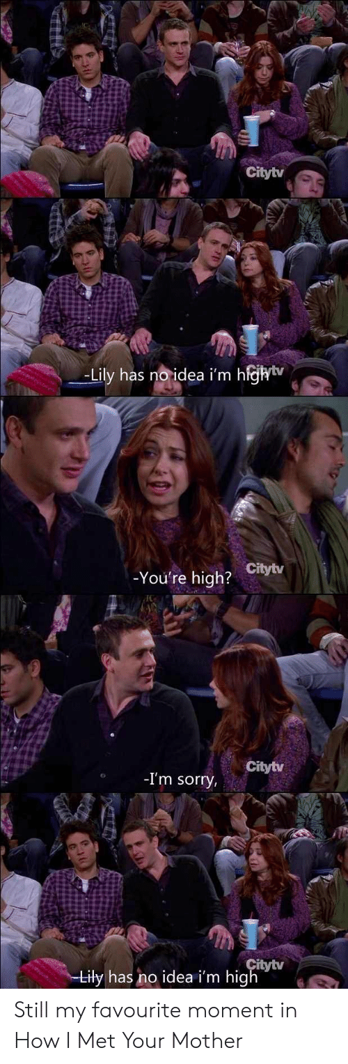 How I Met Your Mother: Citytv  -Lily has no idea i'm hfhtv  You're high? Citytv  Citytv  -I'm sorry  tytv  Lily has no idea i'm high Still my favourite moment in How I Met Your Mother