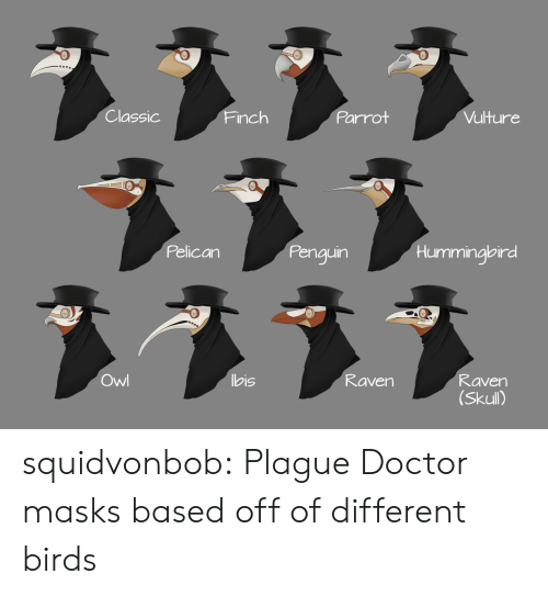 bis: Classic  Parrot  Vulture  Finch  Pelican  Penguin  Hummingbird  ヌ331  Owl  bis  Raven  Raven  (Skull) squidvonbob:  Plague Doctor masks based off of different birds