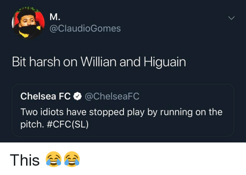 Chelsea, Memes, and Harsh: @ClaudioGomes  Bit harsh on Willian and Higuain  Chelsea FCChelseaFC  Two idiots have stopped play by running on the  pitch. This 😂😂