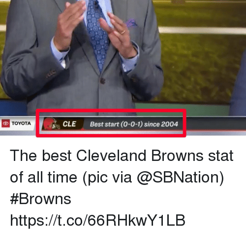 cleveland browns: CLE  Best start (0-0-1) since 2004  TOYOTA The best Cleveland Browns stat of all time   (pic via @SBNation) #Browns https://t.co/66RHkwY1LB