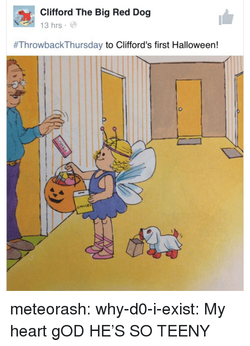 God, Halloween, and Tumblr: Clifford The Big Red Dog  13 hrs.  #ThrowbackThursday to Clifford's first Halloween!  UNIGE meteorash: why-d0-i-exist:  My heart  gOD HE'S SO TEENY