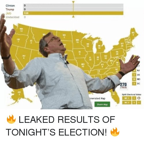 Trump, Clinton, and Map: Clinton  Trump o  538  Undecided  12  NY  td  0 1  13  DE  EWIN  Split Electoral votes  nerated Map  Share Ma <p>🔥 LEAKED RESULTS OF TONIGHT'S ELECTION! 🔥</p>